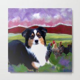 Rosie and her Chickens Metal Print