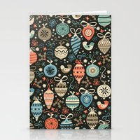 folk Stationery Cards featuring Festive Folk Charms by Poppy & Red