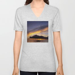 Tahiti Tropical Sunset over Sailboat Unisex V-Neck