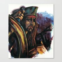 jack sparrow Canvas Prints featuring Cap'n Jack Sparrow by TammyWitzens
