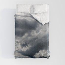 Dramatic Sky - Rain Clouds Dark Gray Blue Monochrome #decor #society6 #buyart Comforters