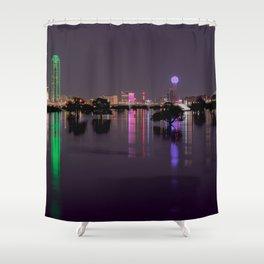 Lights of Dallas, Texas Skyline over Flooded Trinity River Basin Shower Curtain