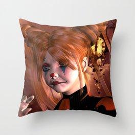 The sweet sad clown Throw Pillow
