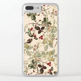 Vintage ivory red green forest berries floral Clear iPhone Case