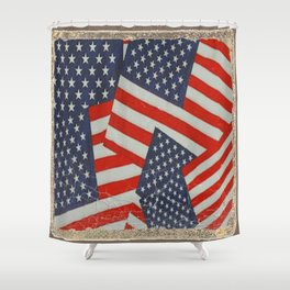Patriotic Americana Flag Pattern Art #2 Shower Curtain