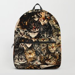 cat collage our beloved kitten cats watercolor splatters Backpack
