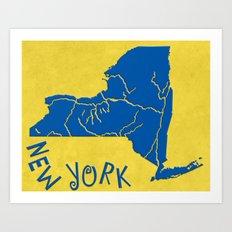 New York State Outline Art Print