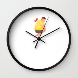 Tired fat man. Vector flat cartoon illustration Wall Clock