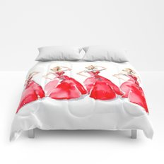 Rouge on the Runway Fashion Illustration Comforters