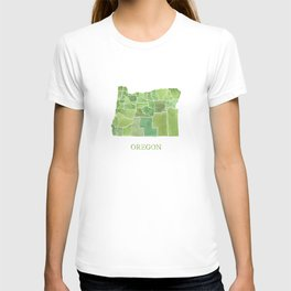 Oregon Counties watercolor map T-shirt
