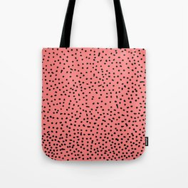 Black Dots on Coral Tote Bag