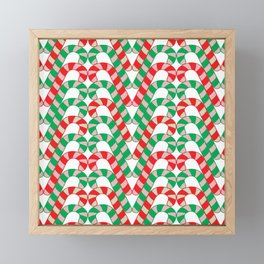 Christmas (mint stripe) candy cane knit seamless repeat pattern in red, green, pink, mint and white Framed Mini Art Print