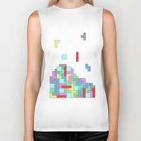 tetris Biker Tanks featuring Tetris by #dancingpenguin