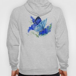 Blue Butterfly, blue butterfly lover blue room design floral nature Hoody