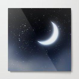 Crescent Moon over Starry Sky Metal Print