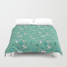 Spring Pattern of Bunnies with Turtles Duvet Cover