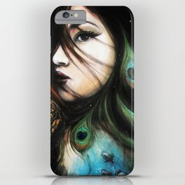 Gaia // Goddess Peacock Jaguar Birds Jungle Stars Space Tarot Woman Feminine Wind Elements Energy iPhone Case
