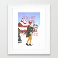 will ferrell Framed Art Prints featuring Christmas Cheer / Elf by Earl of Grey