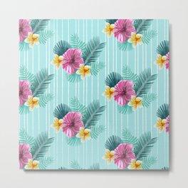 Cool blue base pink floral texture Metal Print