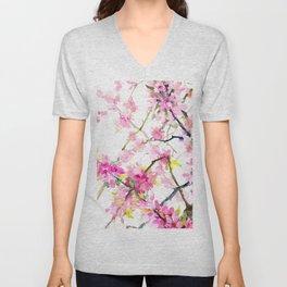 Cherry Blossom, Sakura, Japanese Floral art Unisex V-Neck