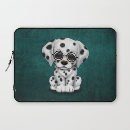 Dalmatian Puppy Wearing Reading Glasses on Blue Laptop Sleeve