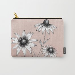 Wildflowers Ink Drawing | Dusty Pink Carry-All Pouch