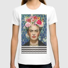 Forever Frida White X-LARGE Womens Fitted Tee