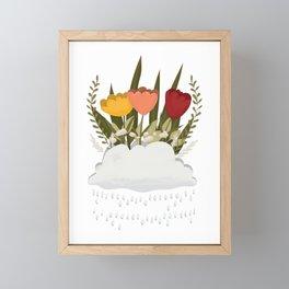 Let It Rain, Rain Cloud Flower Bed Framed Mini Art Print