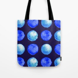 Winter Blue Watercolor Large Dots Pattern Tote Bag