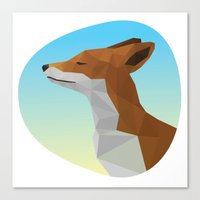 low poly Canvas Prints featuring Low-Poly fox by fortyfive