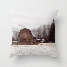 Winter Mountain Homestead Throw Pillow