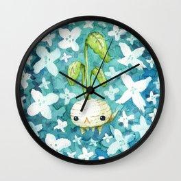 Flower pompon and little radish Wall Clock