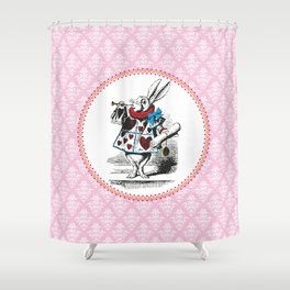 Alice in Wonderland | The Herald of the Court of Hearts | White Rabbit | Pink Damask Pattern | Shower Curtain