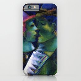 Green Lovers romantic Paris portrait painting by Marc Chagall iPhone Case
