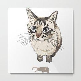 Cat & Dead Mouse Present Metal Print