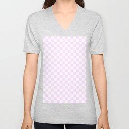 Small Checkered - White and Pastel Violet Unisex V-Neck