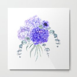 Purple Hydrangeas and Anemones Watercolor Flowers Metal Print