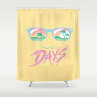hollywood Shower Curtains featuring Hollywood Days by Jackalope Academy