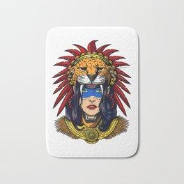 Aztec Jaguar Warrior Native Mexican Headdress Bath Mat