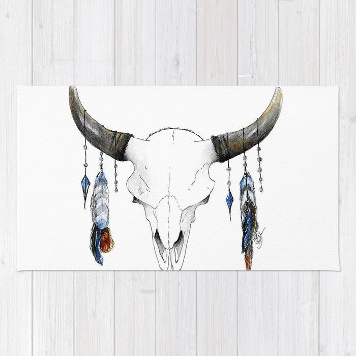 Skull with Feathers Rug