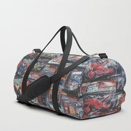 robot toy and car toy at the toy store pattern background Duffle Bag