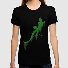 Distressed Green Salamander With Paint Drip T-shirt