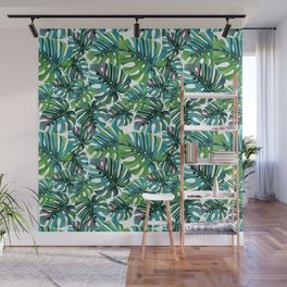 Elephant Tropical Leaves Pattern Wall Mural