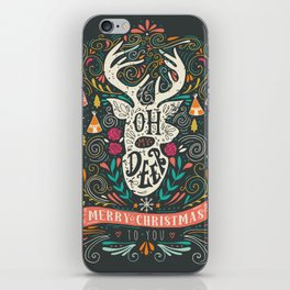 Oh deer! Mery christmas funny quotes iPhone Skin