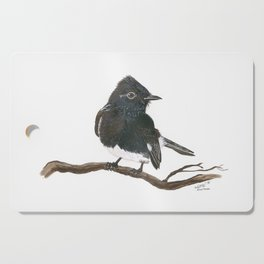 Black Phoebe Watercolor Cutting Board