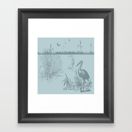 Oriental Exotic Heron & Birds on a Lake Print Framed Art Print