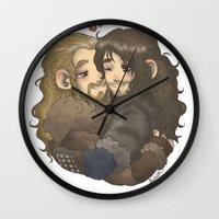 hug Wall Clocks featuring Hug by AlyTheKitten
