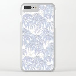 White, gray and light blue, Abstract flowers, Clear iPhone Case