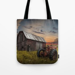 Abandoned Farmall Tractor and Barn Tote Bag