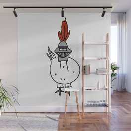 Eglantine la poule (the hen) dressed up as a knight Wall Mural